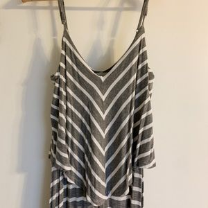 Grey and White Stripe Maxi Dress